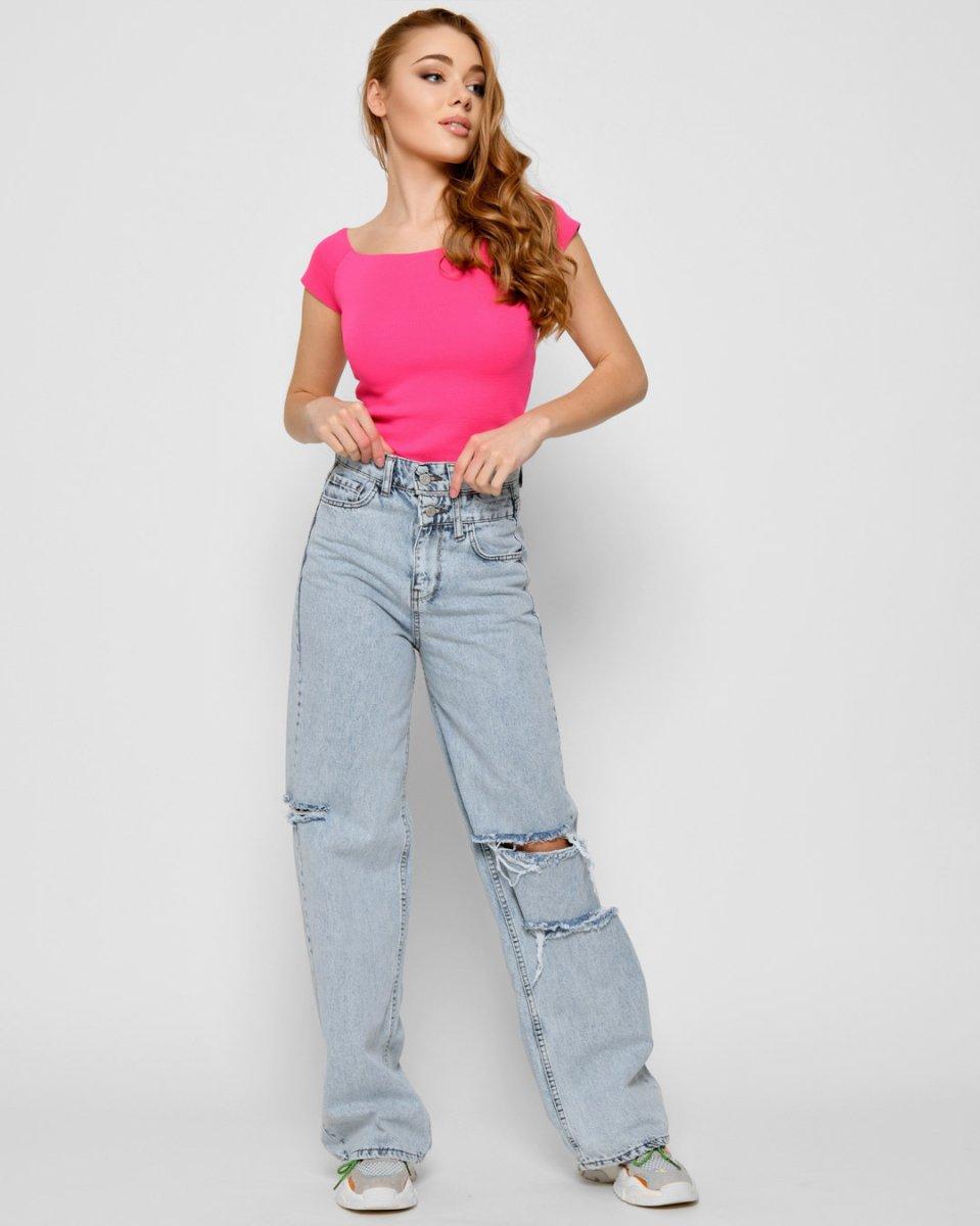 Летние джинсы палаццо 31897-11 голубой