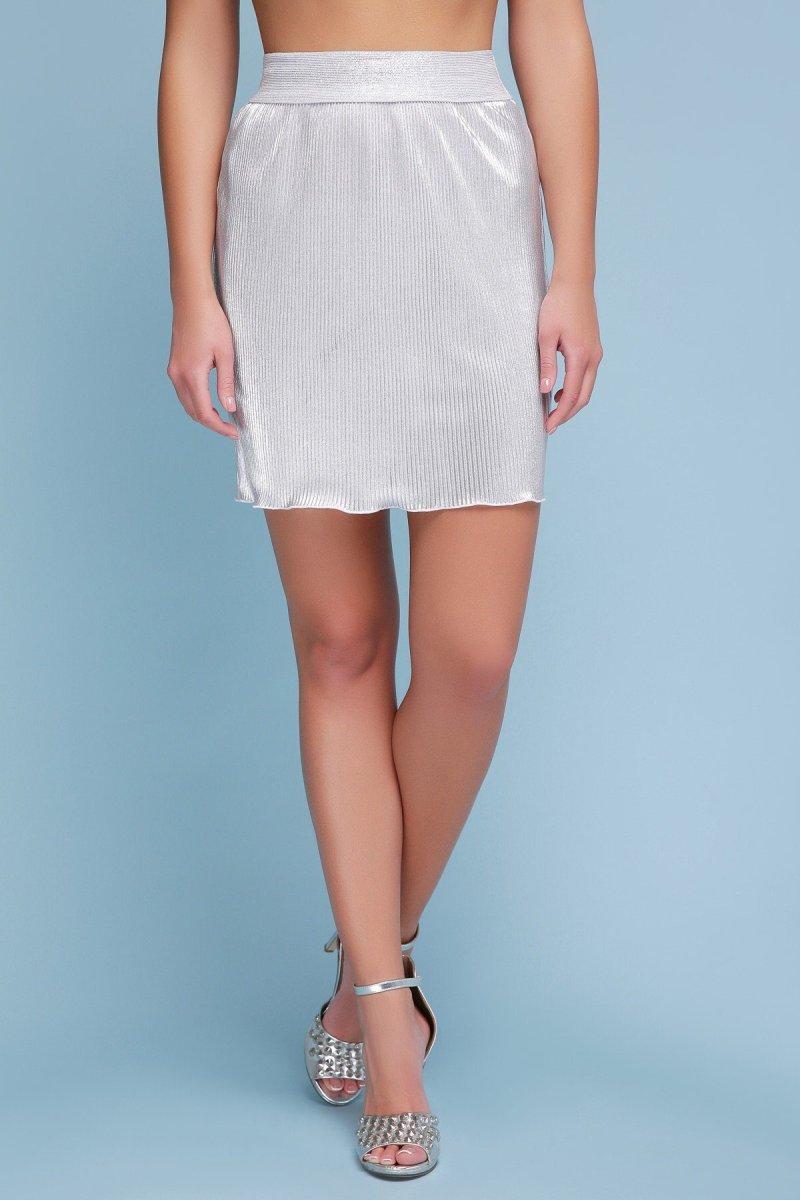 юбка Плиссе (короткая) белый-серебро