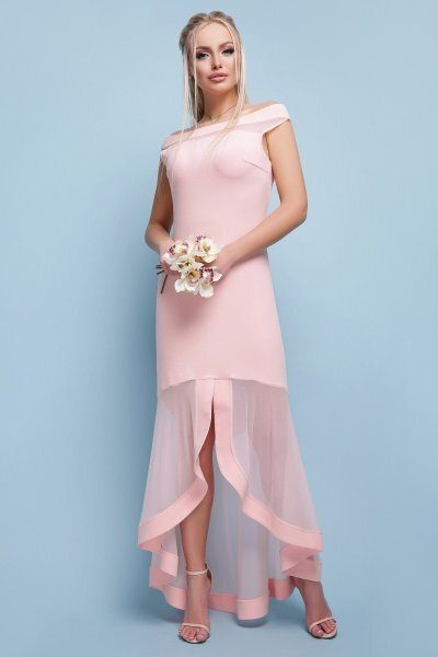Вечернее длинное платье Ингрид персик