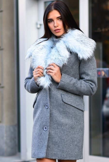 Прямое зимнее пальто LS-8760-4
