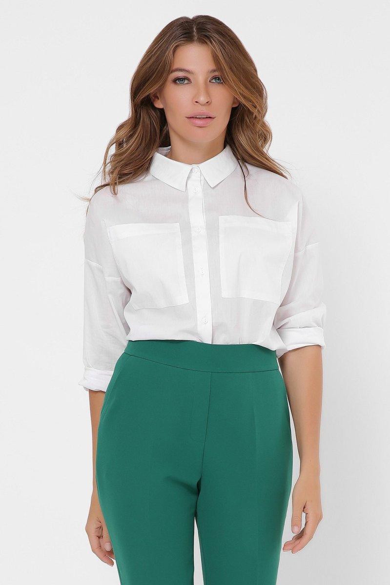 Однотонная женская рубашка 7690-3 Белый
