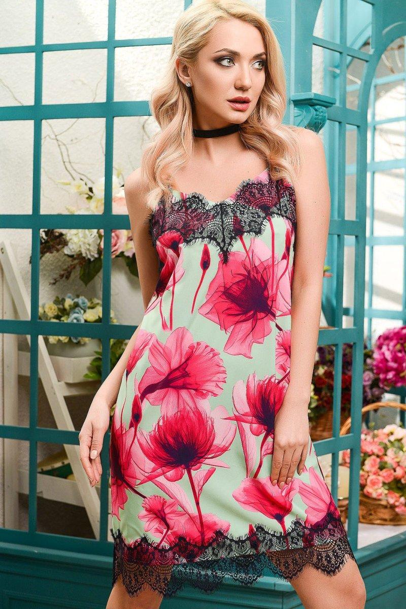 Платье 5885-7 Мята-малина