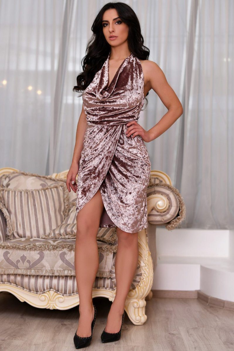 Велюровое платье KP-10110-21 пыльная роза