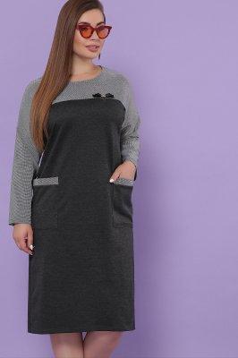 Платье Джоси-БФ д/р т.серый-лапка м.черная