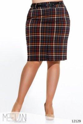 Женская юбка большого размера Клеточка темно синий