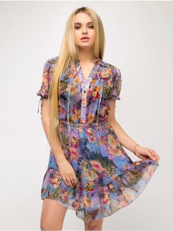 """Платье """"Нимфея"""" (мультицвет/голубой)"""