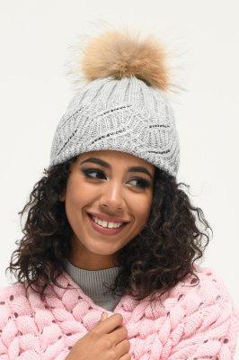 Теплая женская шапка 31372-4 Серая