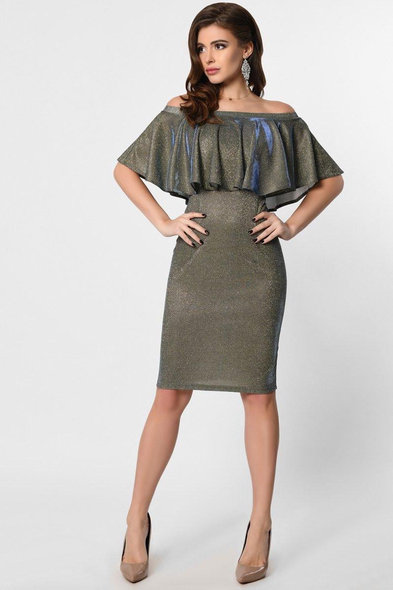 Облегающее платье с рюшей KP-10220-18 синий-бирюза