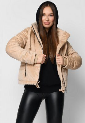Демисезонная вельветовая куртка 8857-10 бежевая
