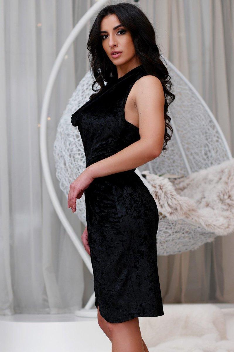 Велюровое платье KP-10110-8 черное