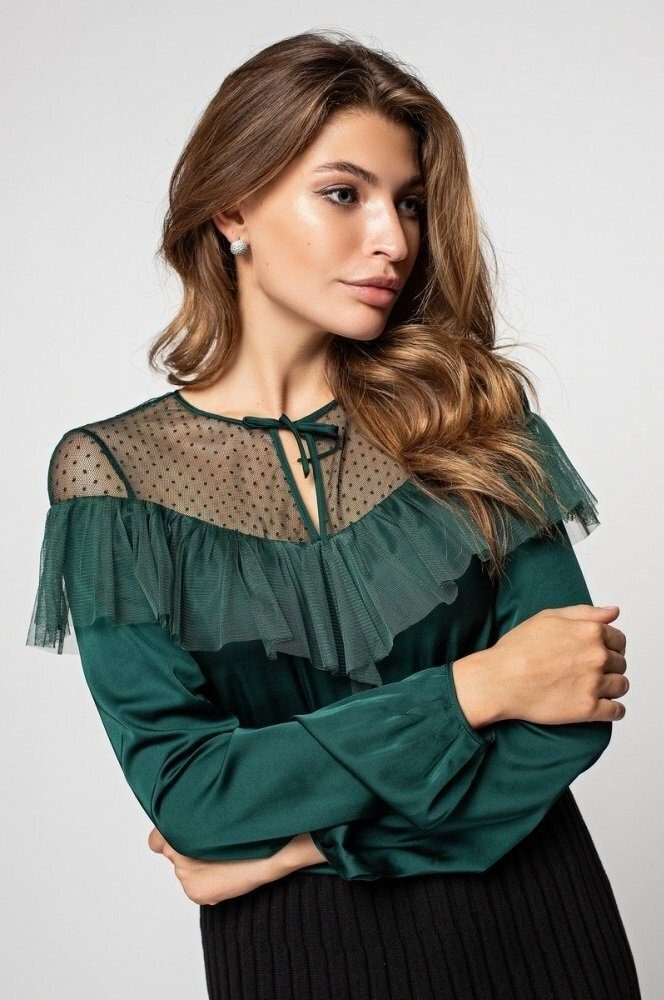 Женственная блуза с рюшей 21170 изумрудный