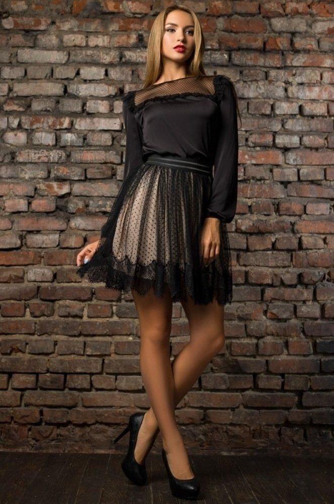 Стильная блуза 21175 черная