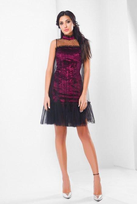 Велюровое платье KP-10106-16