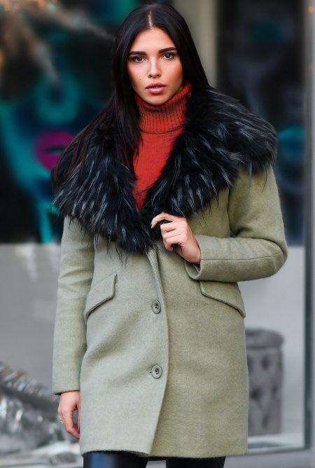 Прямое зимнее пальто LS-8760-12
