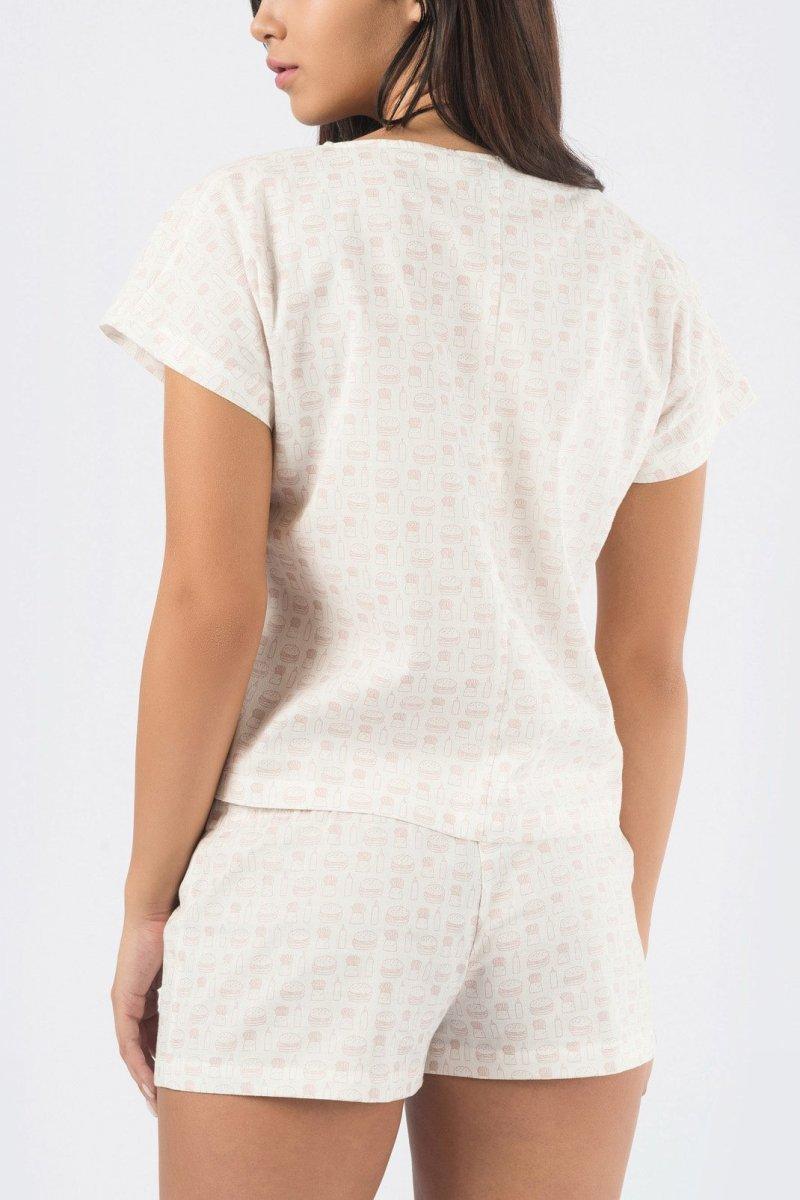 Принтованый костюм 2121-27 Белый-персик