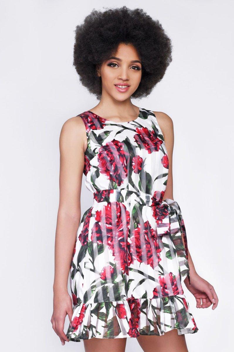 Платье KP-10244-14 Алый-белый