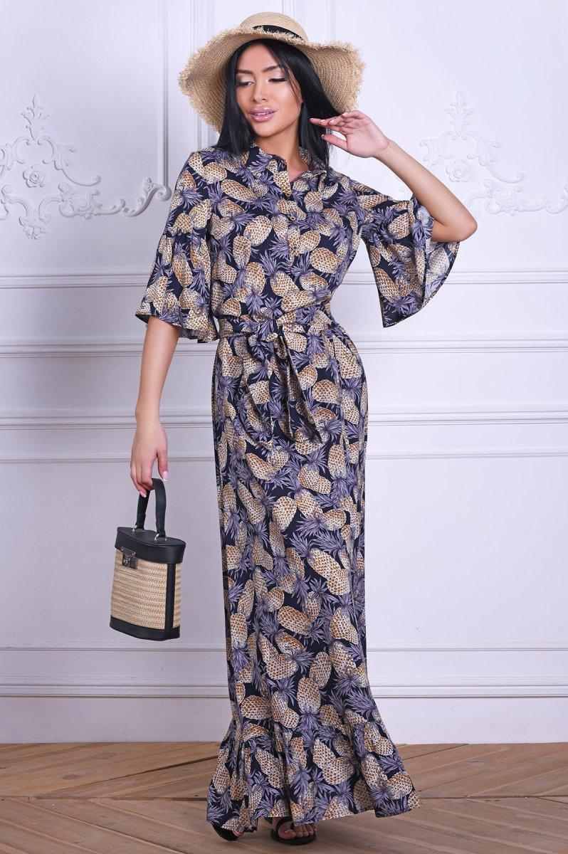 Платье-макси 10251-2 Синий-беж
