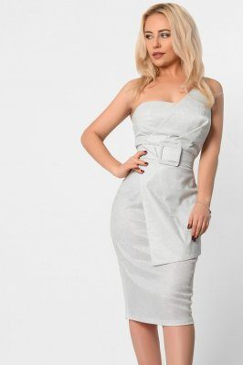 Ассиметричное вечернее платье 10298-3 белое