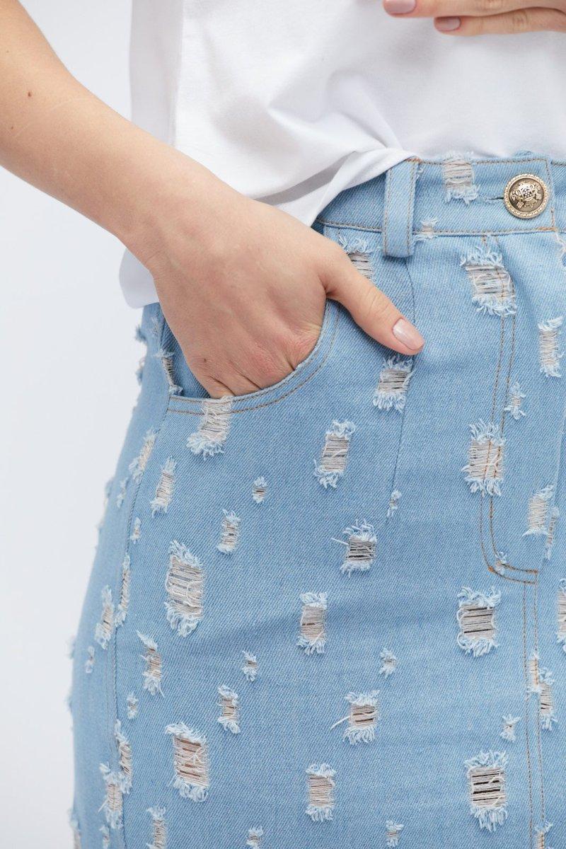 Джинсовая юбка UB-3245-11 Голубой