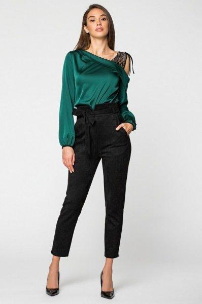 Шелковая блуза 21185 изумрудная