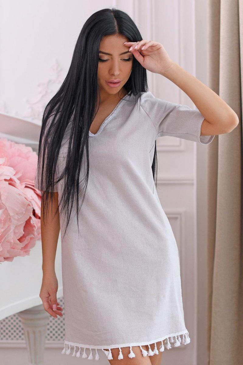 Платье 10264-15 Серо-розовый