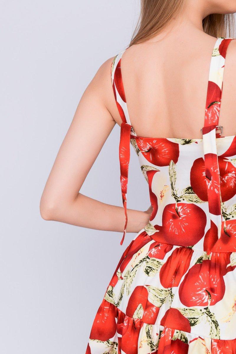Летнее платье 10052-10 Крем-алый