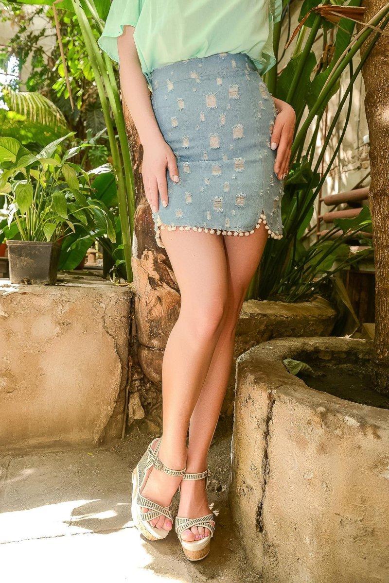Джинсовая юбка UB-3221-11 Голубой
