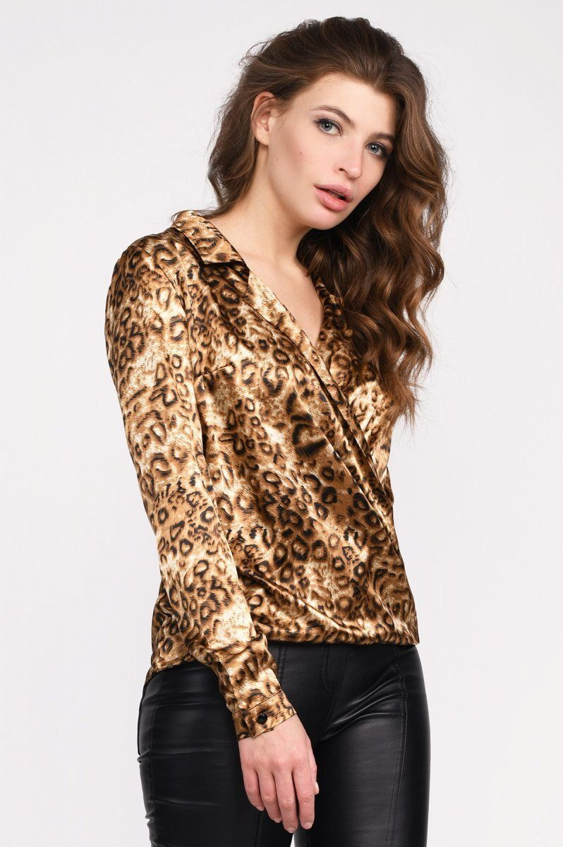 Блузка BK-7687-10 Леопард-беж