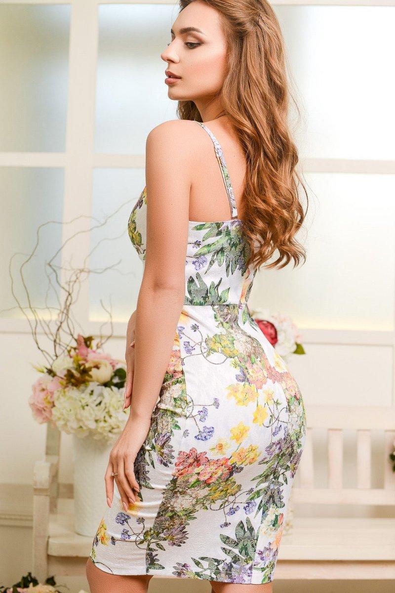 Облегающее платье 5894-23 Белый-сирень
