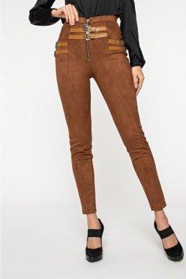 Зауженные замшевые брюки 4122 рыжие