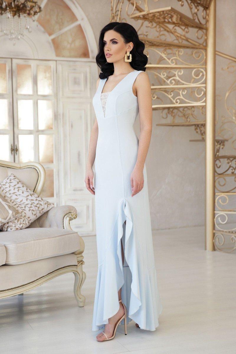 Красивое платье в пол Этель голубое