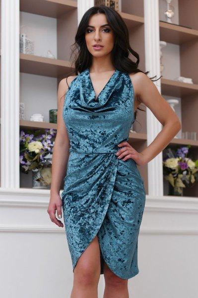 Велюровое платье KP-10110-18 морская волна