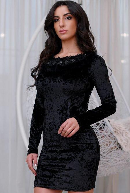 Велюровое платье-мини KP-10114-8 черное