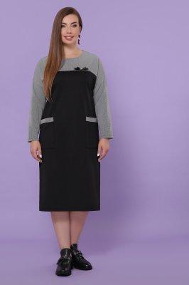 Платье Джоси-Б д/р черный-лапка м.черная