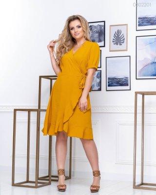 Летнее платье с воланом Косумель (горчичный)