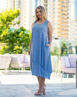 Летнее платье в полоску Искья (синий)