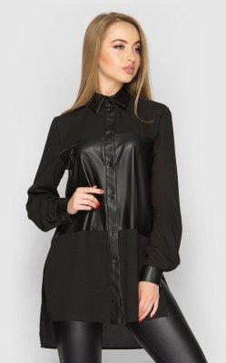 Асимметричная рубашка черная