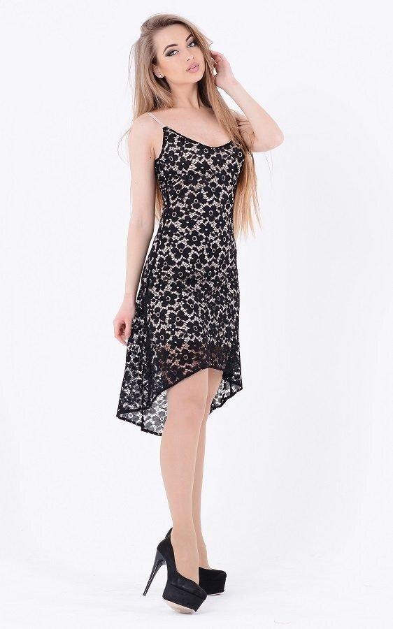 Ассиметричное платье гипюр 3512 (черное)