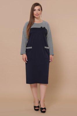 Платье Джоси-Б д/р синий-лапка м.черная