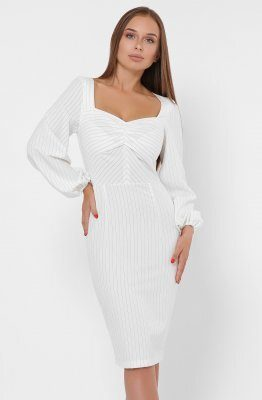 Женское платье в полоску 10269-3 Молоко
