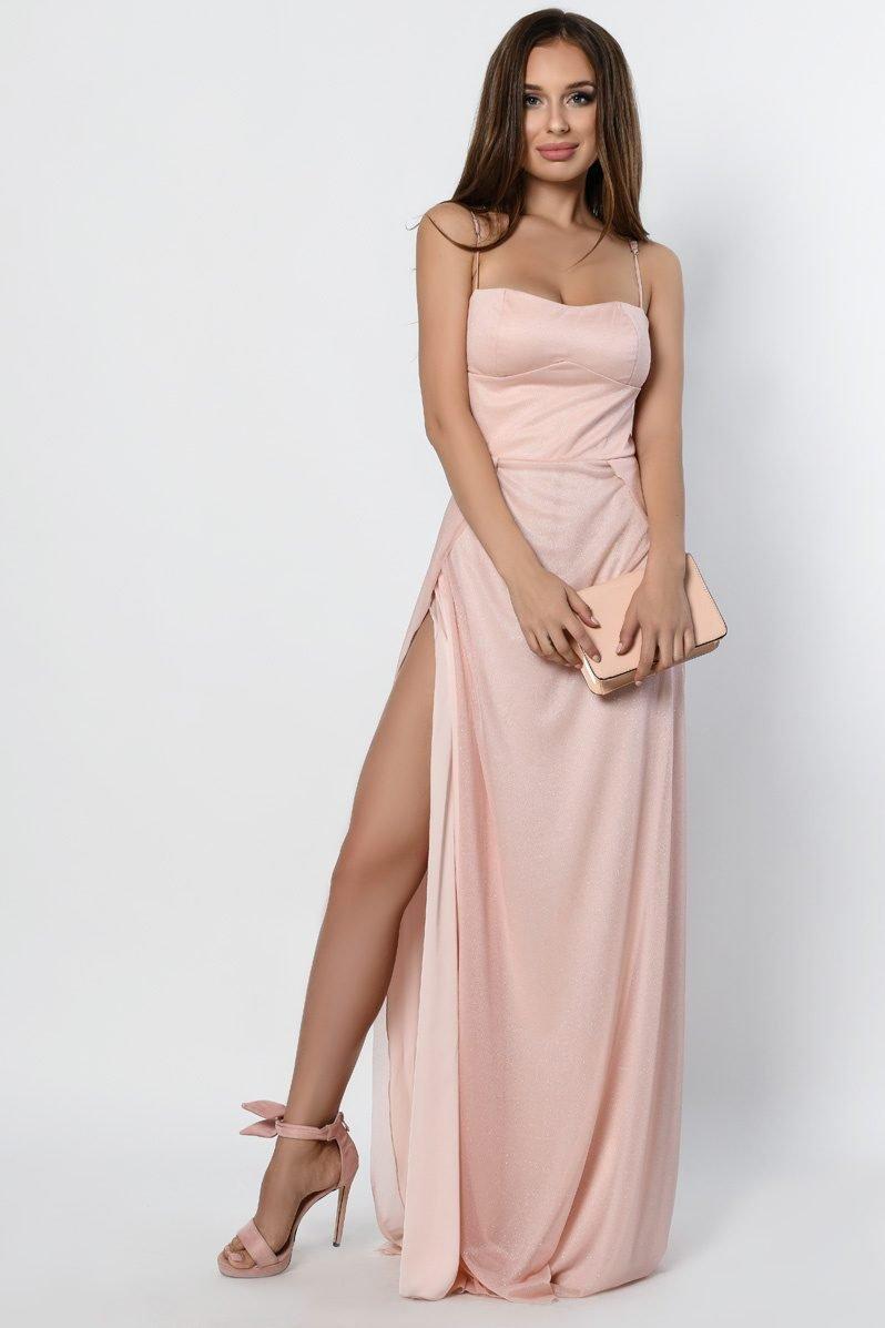 Элегантное вечернее платье 10310-27 персик