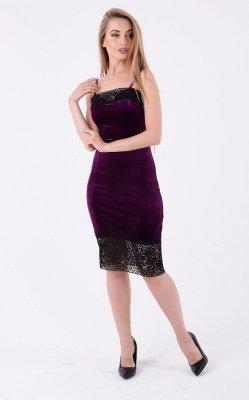 Бархатное платье на бретелях фиолетовый