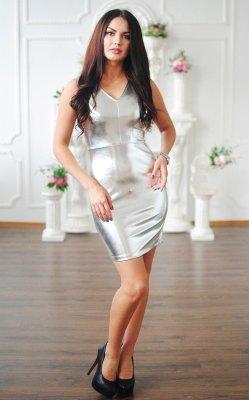 Блестящее кожаное платье 3340 серый