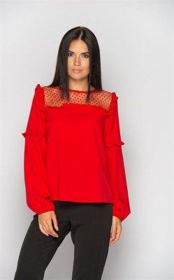Блуза с прозрачными вставками (красная)