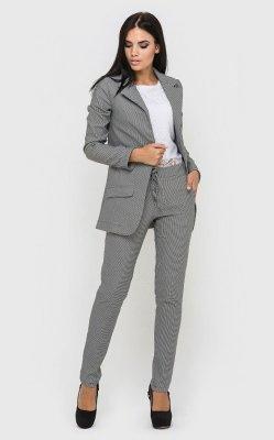 Брючный костюм клетка серый