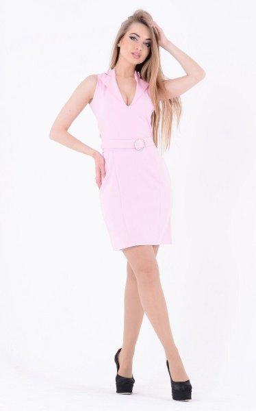 Декорированное нежное платье 3623 розовый