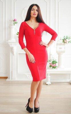 Деловое джинсовое платье 3458 красный