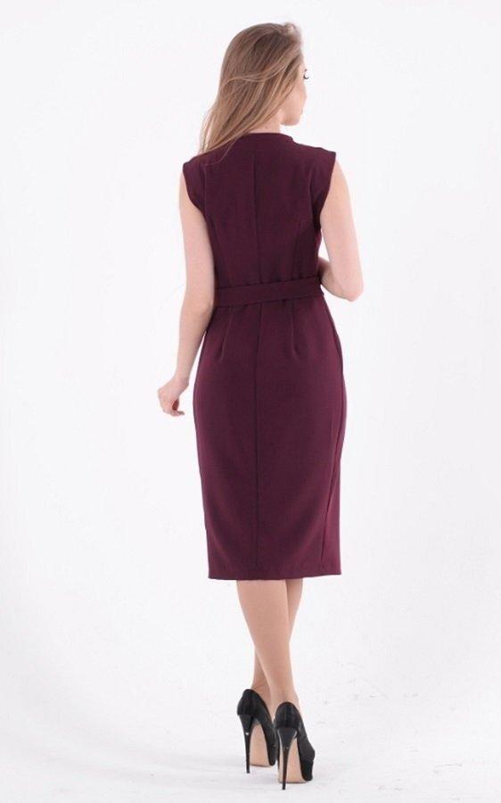 Деловое платье миди 3583 бордовый