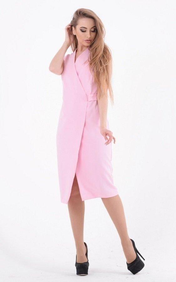 Деловое платье миди 3583 розовый