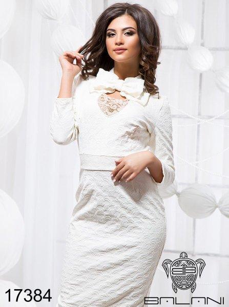 Деловое платье - 17384 Молоко